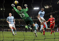 Joe Hart Man City Goal Keeper in action