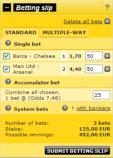 Sleek and simple betting slips online at Interwetten